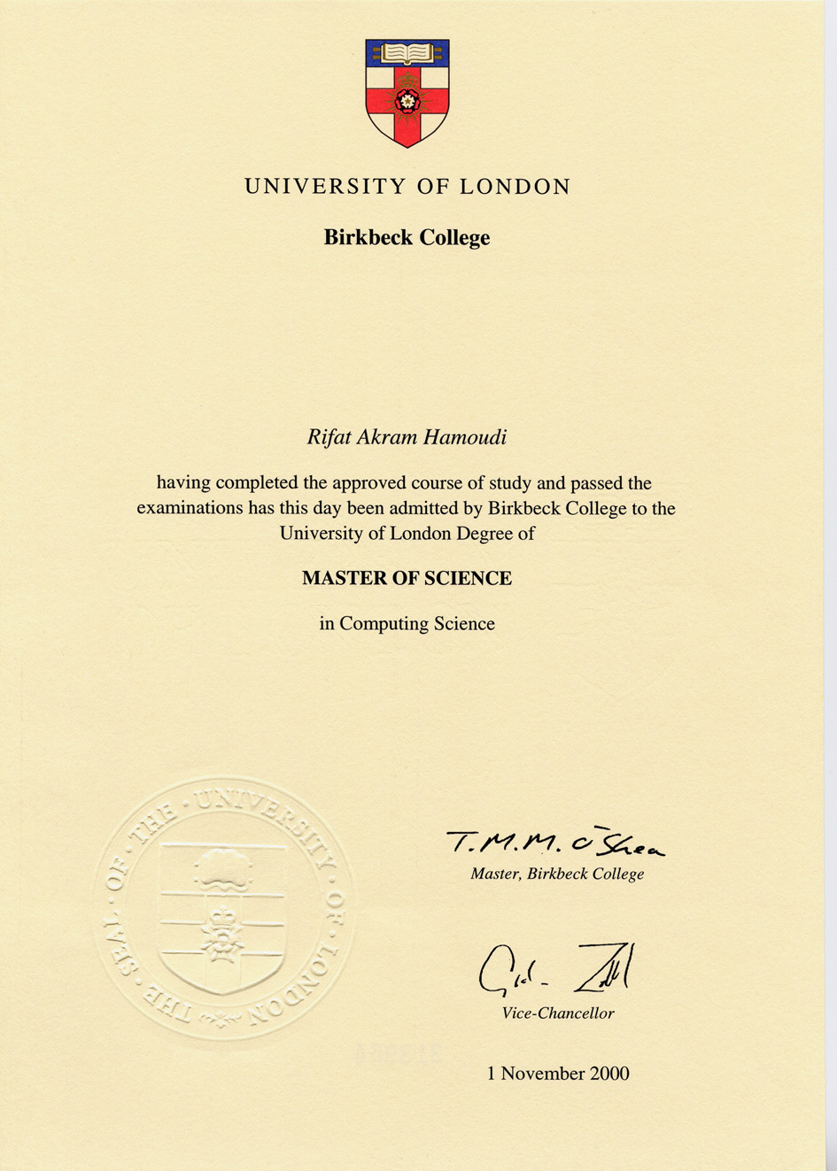 College University University College London Degree